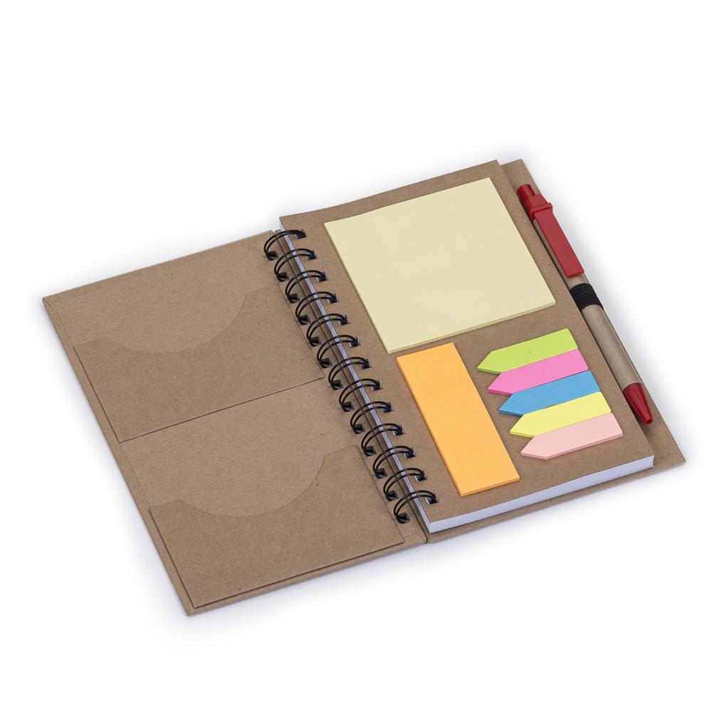 Caderneta de Anotações com Caneta e Post-it